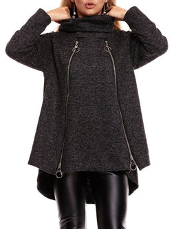 Turtleneck Long Sleeve Mid-Length Zipper Overcoat