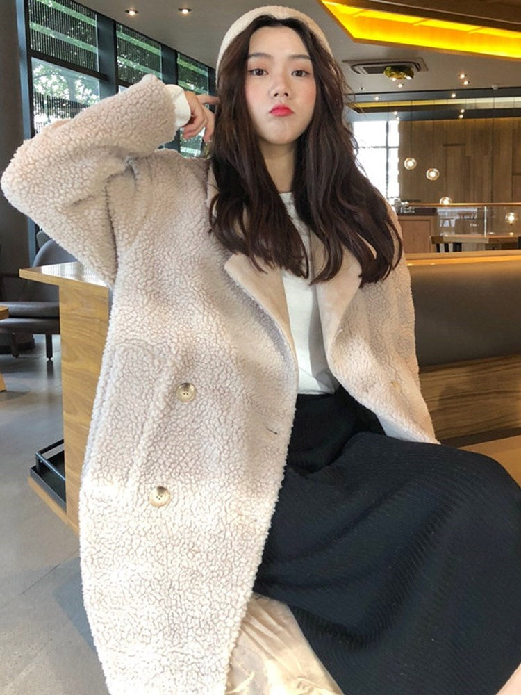 Teddy Bear Double-Breasted Overcoat