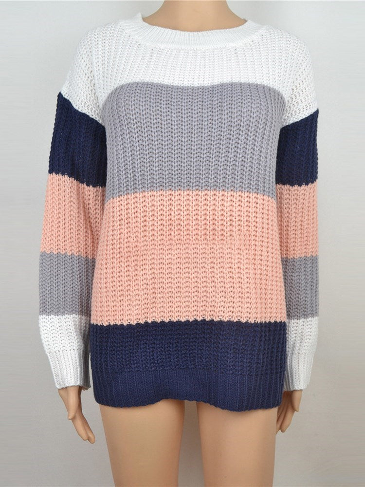 Loose Color Block Knitwear - Comfyfree
