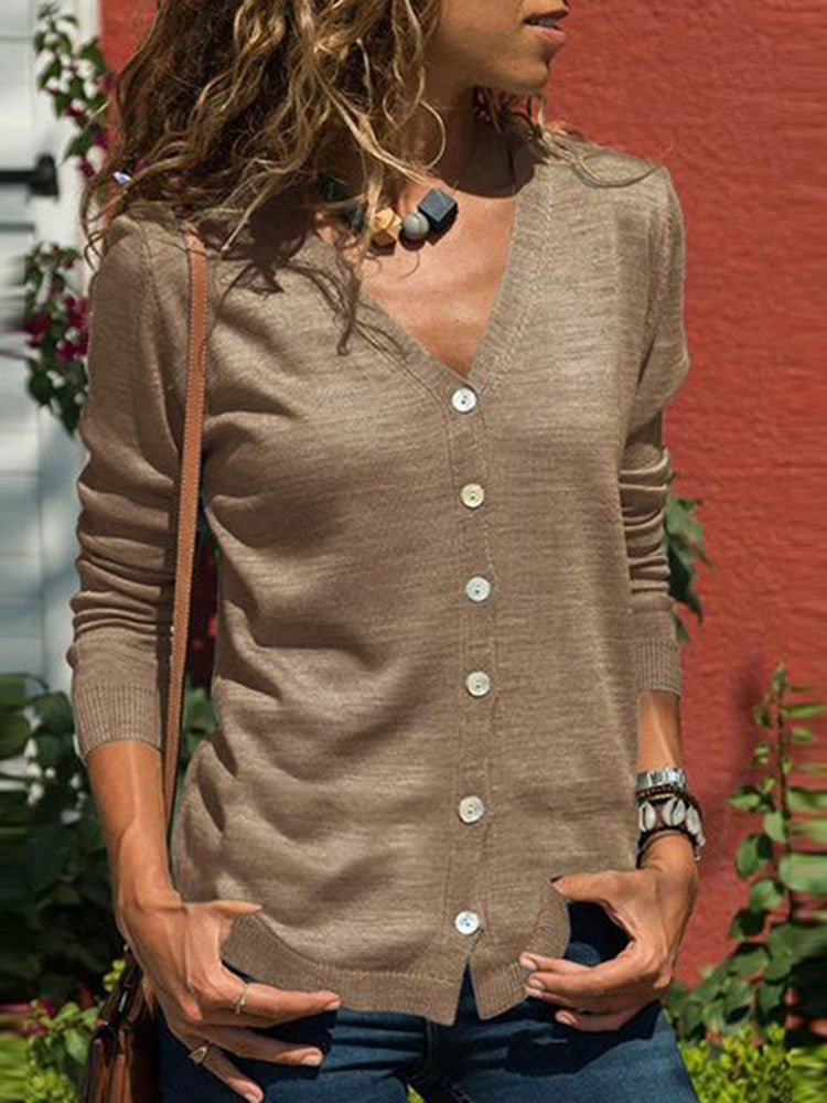 Single-Breasted V-Neck Blouse