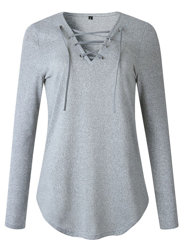 Lace-Up V-Nec Hoodie - Comfyfree
