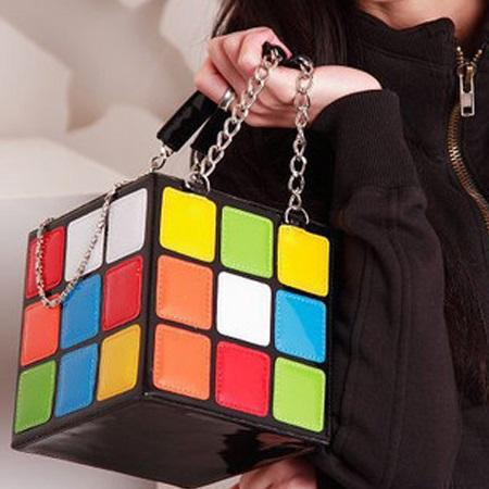 Color Block PU Flap Tote Bags