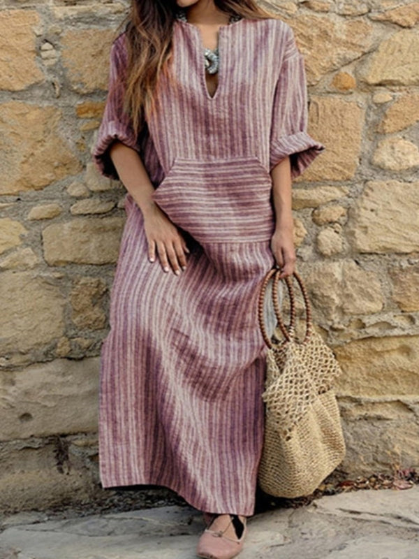 Half Sleeve Pocket Ankle-Length Straight Regular Casual Dresses - Comfyfree