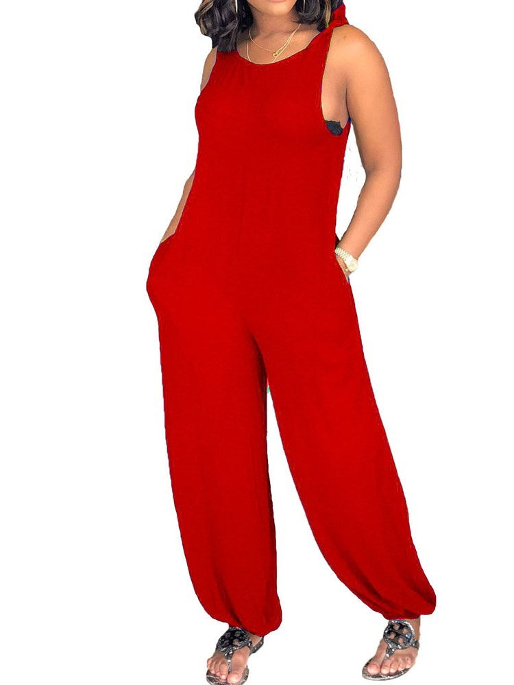 Western Strap Full Length Loose Jumpsuit