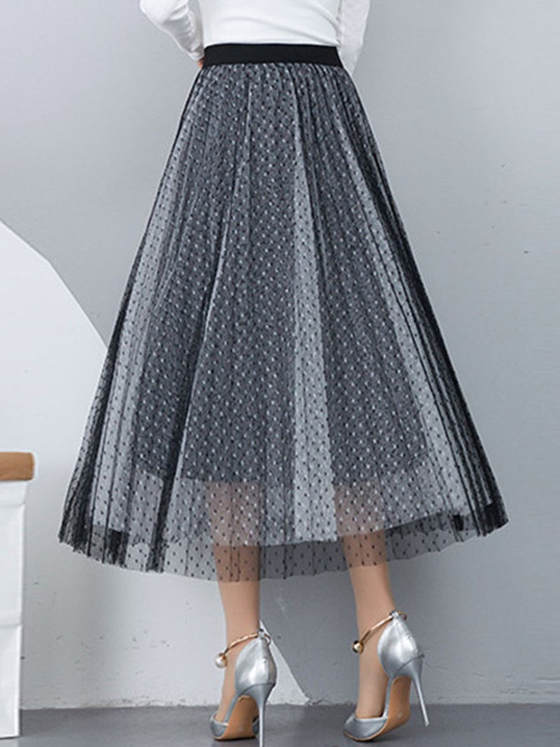 Pleated Expansion Mid-Calf Mid Waist Sweet Skirt