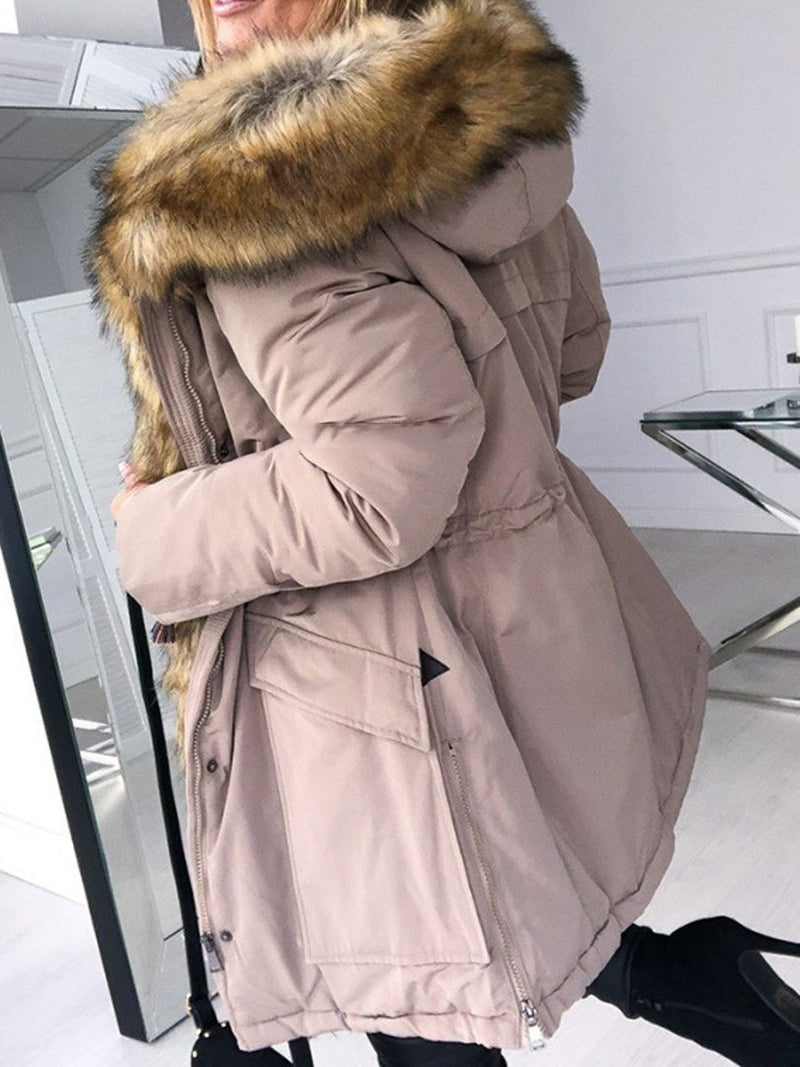 Zipper Hooded Patchwork Loose Casual Trench Coat
