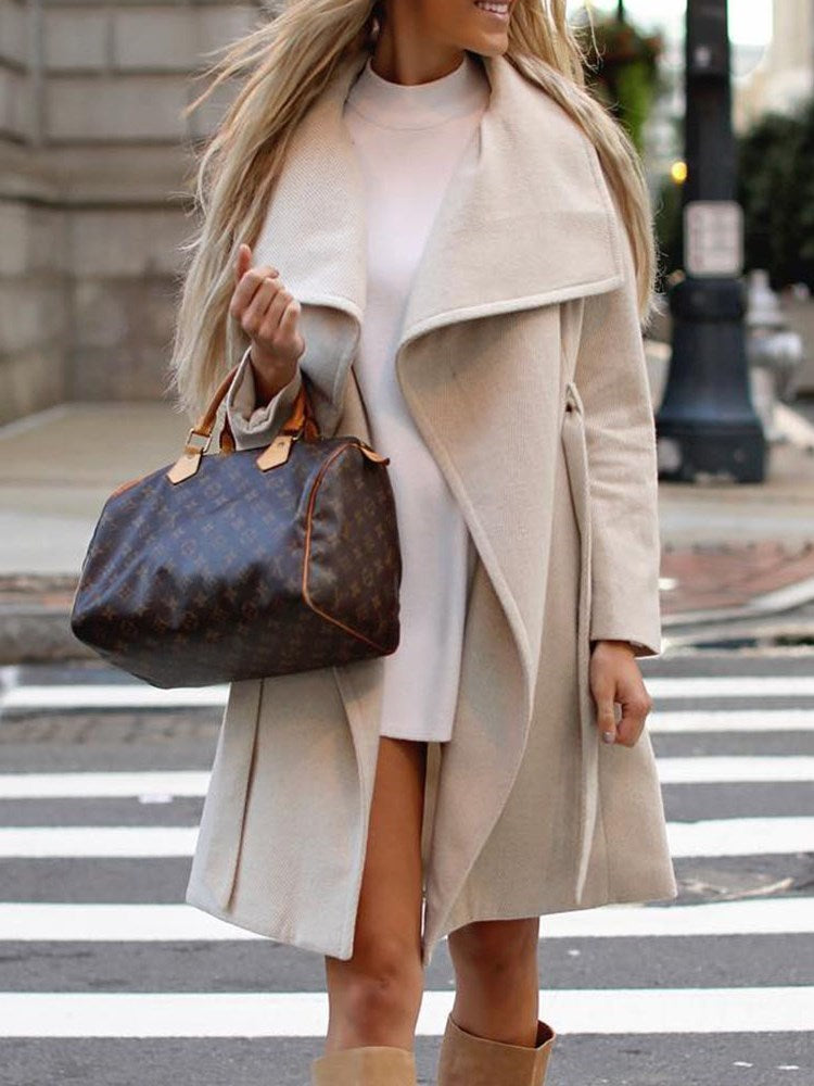 Regular Asymmetric Loose Lapel Winter Overcoat