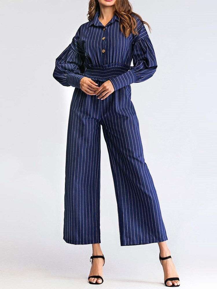 Office Lady Stripe Ankle Length Loose Wide Legs Jumpsuit
