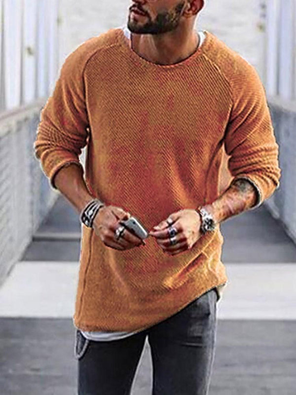 Plain Round Neck Mid-Length Casual Fall Sweater