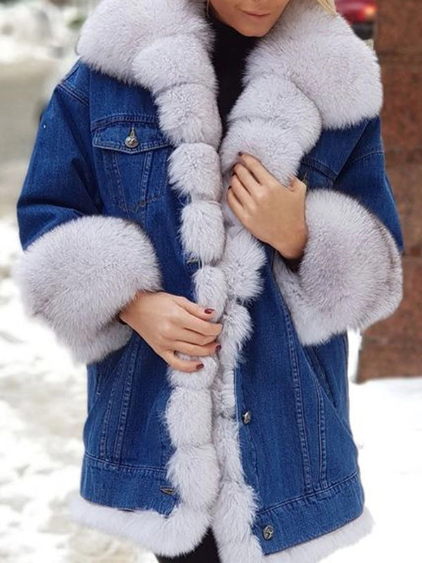 Mid-Length Color Block Regular Loose Thick Faux Fur Overcoat