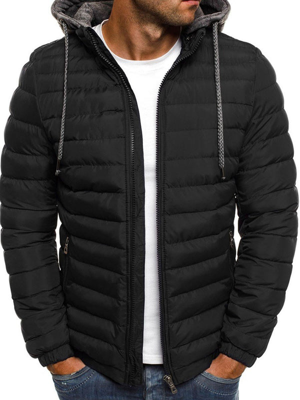Patchwork Hooded Standard Zipper Casual Down Jacket