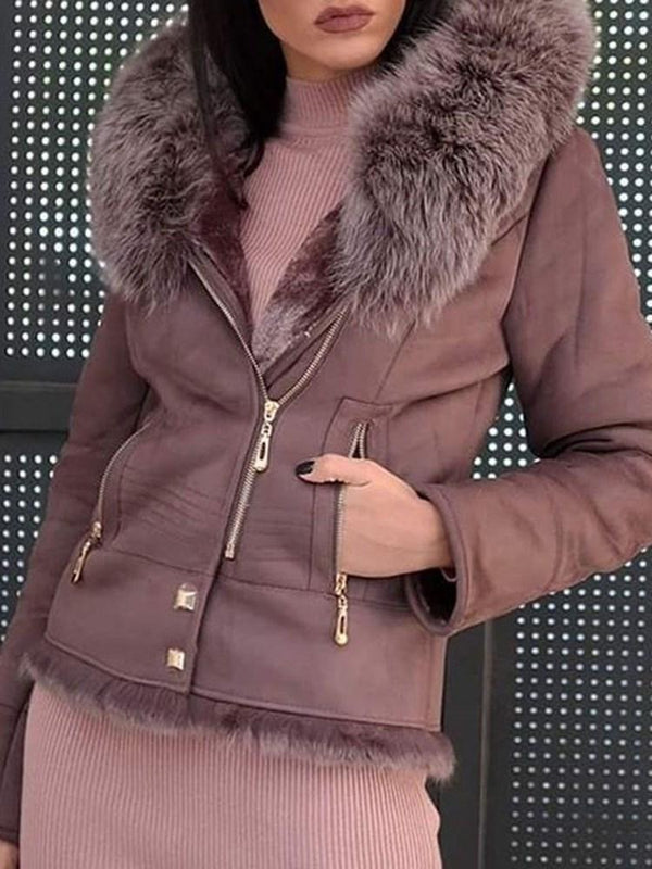 Standard Hooded Plain Loose Winter Faux Fur Overcoat