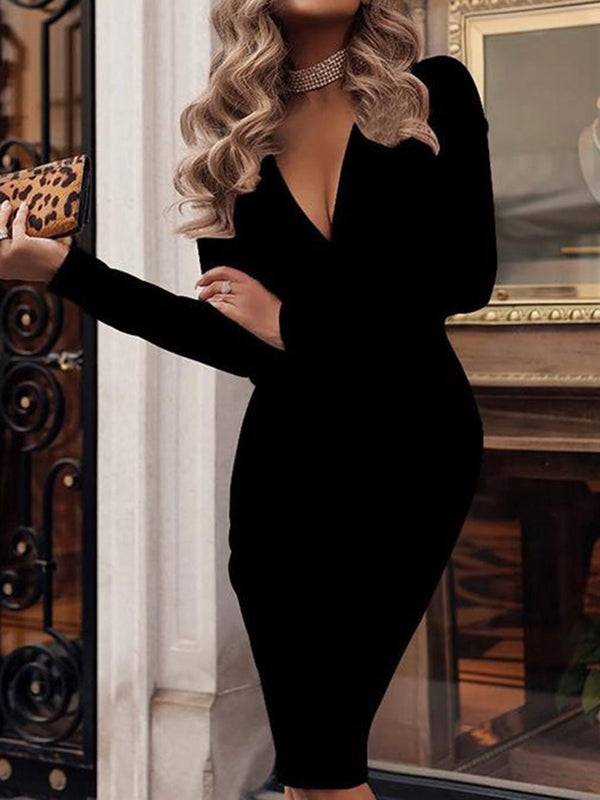 Long Sleeve V-Neck Knee-Length Pencil Regular Dress