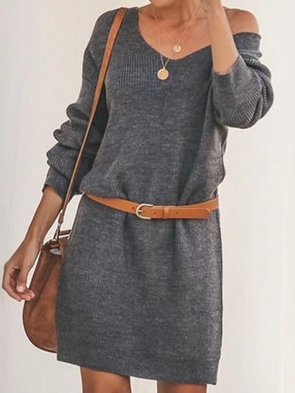Above Knee Three-Quarter Sleeve Pullover Straight Dress