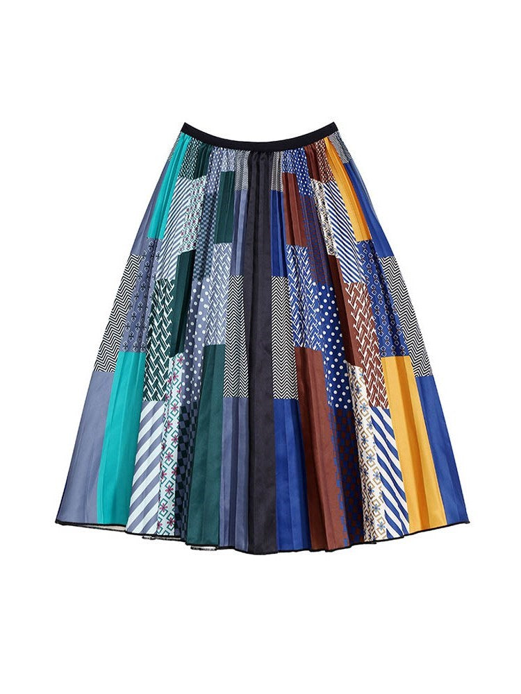 Mid-Calf A-Line Color Block Korean Skirt