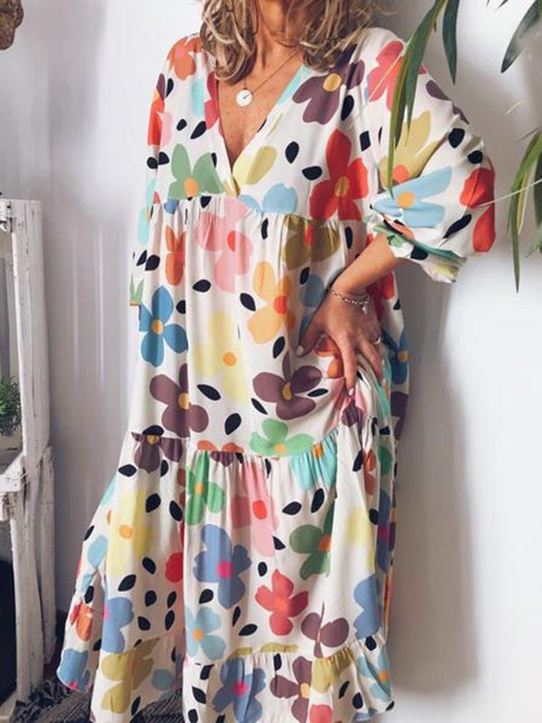 Mid-Calf Three-Quarter Sleeve Print Floral Pullover Dress