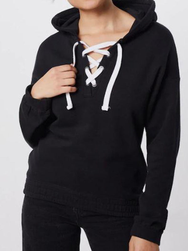 Regular Lace-Up Plain Spring Hooded Hoodie