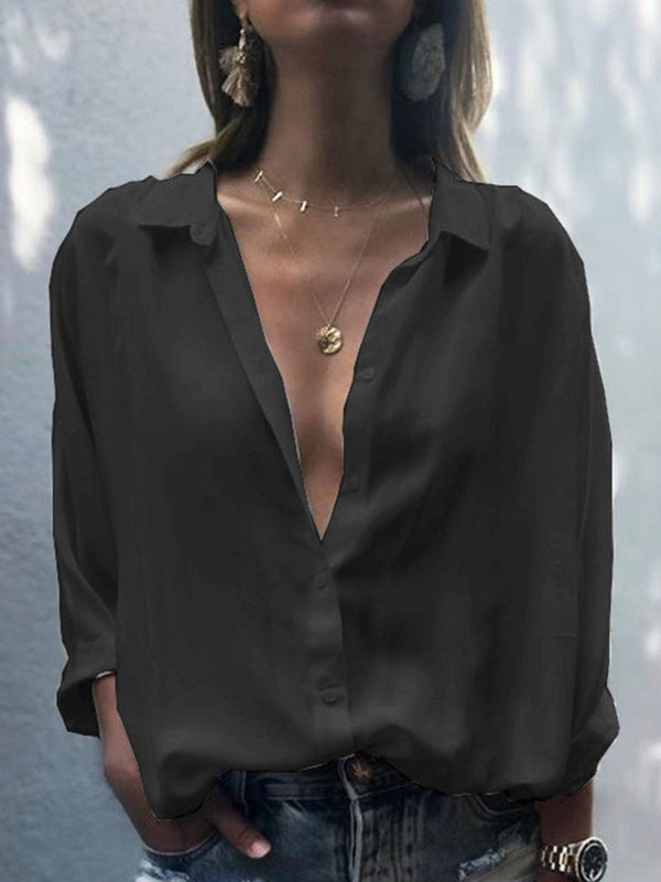 Plain Lapel Button Long Sleeve Mid-Length Blouse