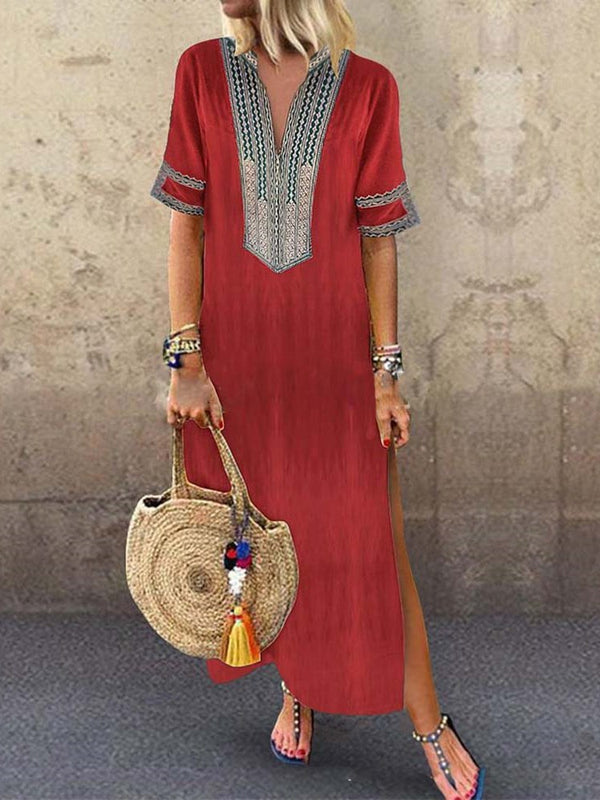 Split Short Sleeve V-Neck Travel Look A-Line Dress