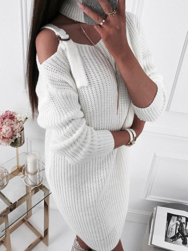 Above Knee Hollow Turtleneck Casual Plain Dress