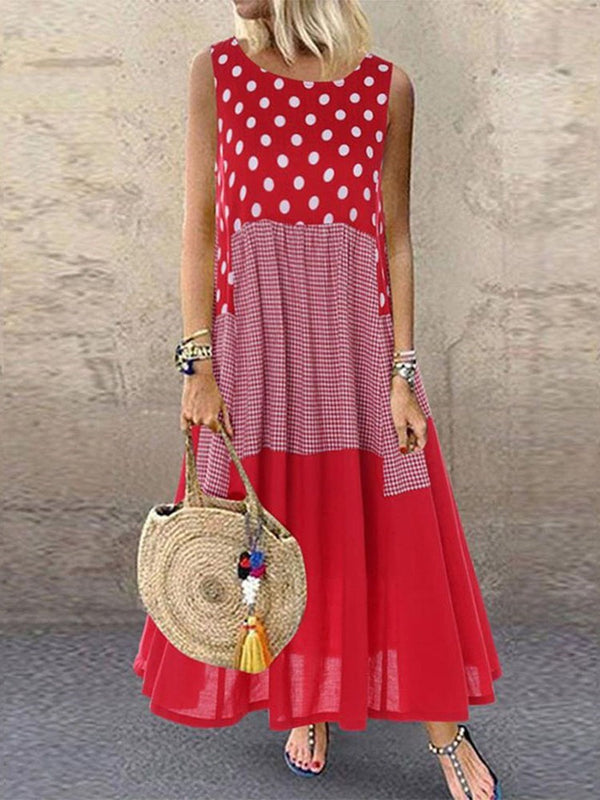Sleeveless Print Round Neck Pullover Polka Dots Dress