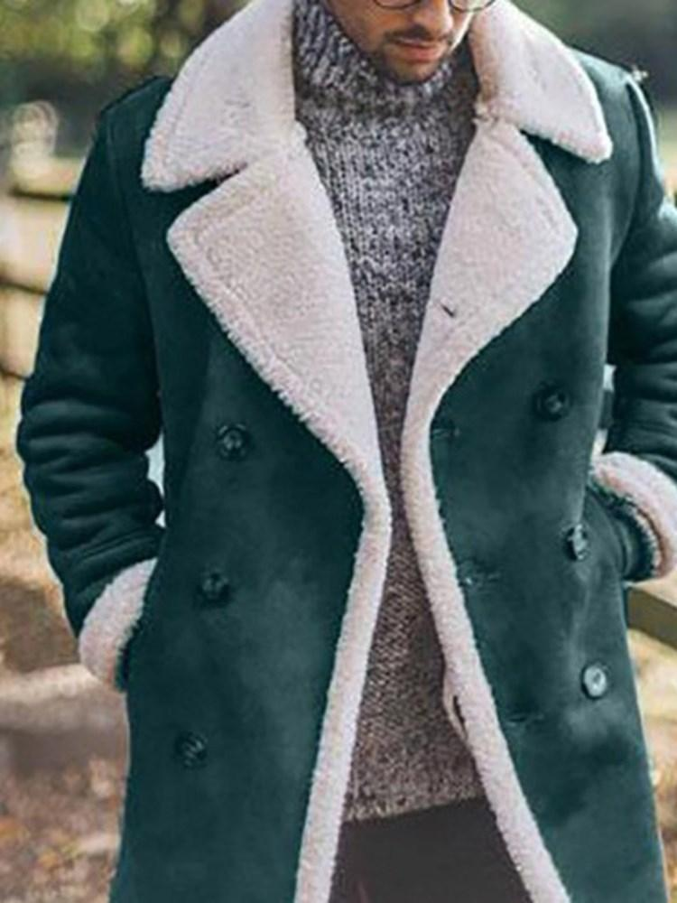 Color Block Mid-Length Button Fall Fashion Coat
