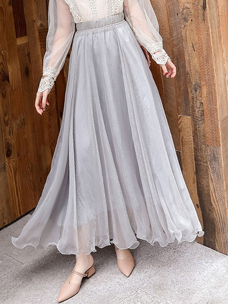 Ankle-Length Stringy Selvedge Expansion Mid Waist Sweet Skirt