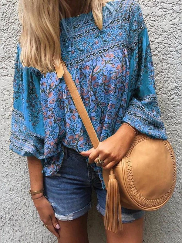 Round Neck Floral Print Three-Quarter Sleeve Standard Blouse