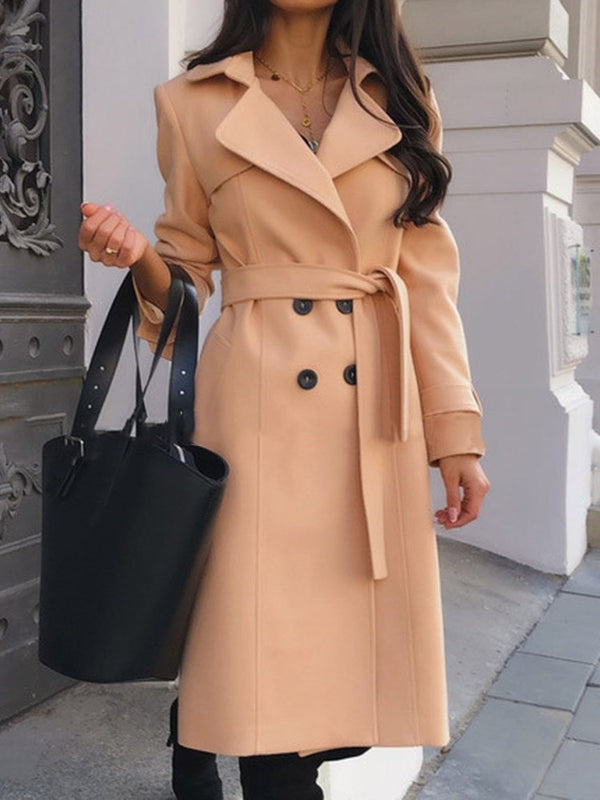 Double-Breasted Loose Lace-Up Long Notched Lapel Overcoat