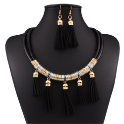 Geometric Tassel Necklace Prom Jewelry Sets