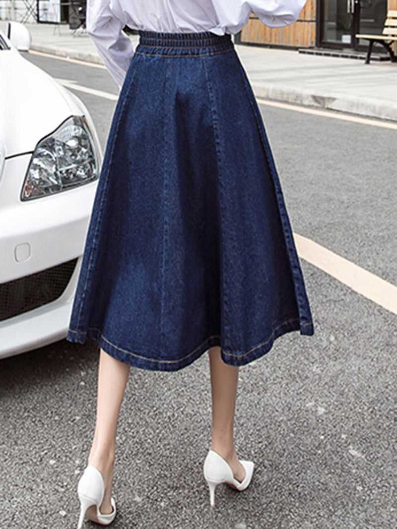 Mid-Calf A-Line Plain Fashion High Waist Skirt