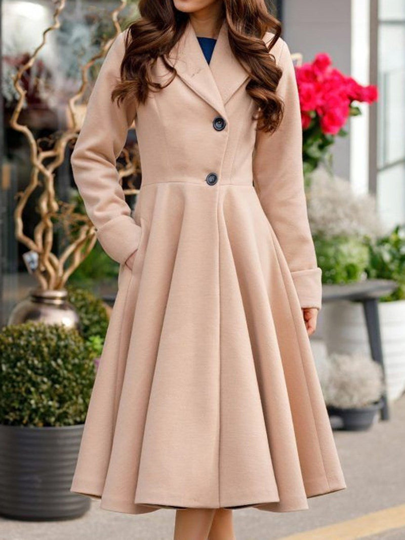 Single-Breasted A Line Regular Long Notched Lapel Overcoat