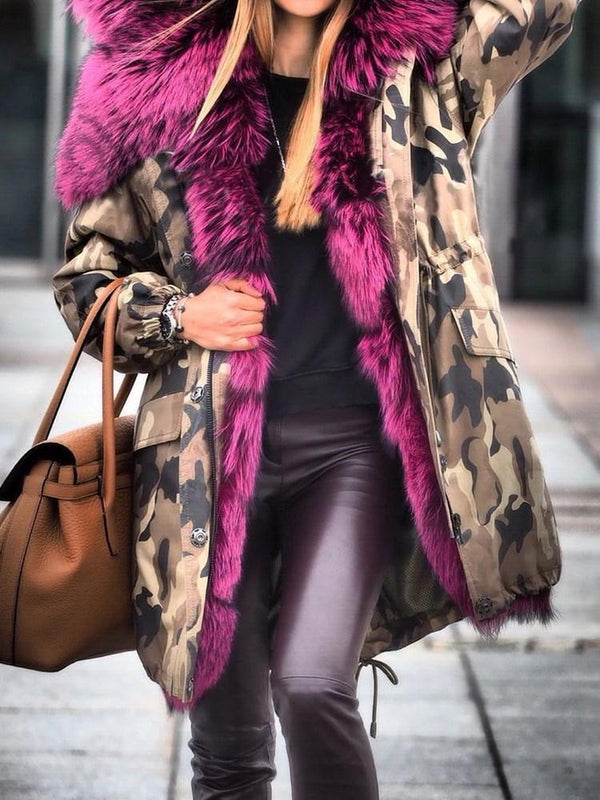 Regular Camouflage Mid-Length Thick Zipper Faux Fur Overcoat