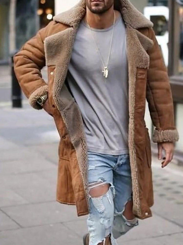 Lapel Thick Patchwork Winter Casual Jacket