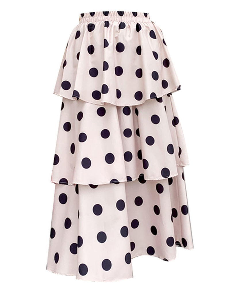 Polka Dots Pleated Cupcake Skirts High Waist Sweet Skirt