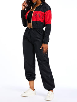 Patchwork Casual Pants Round Neck Harem Pants Two Piece Sets