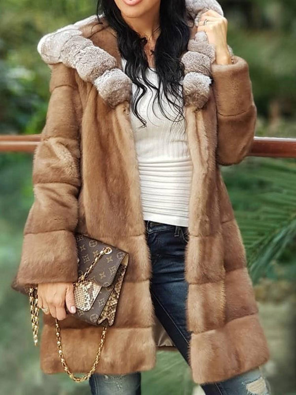 Plain Mid-Length Regular Winter Lace-Up Faux Fur Overcoat