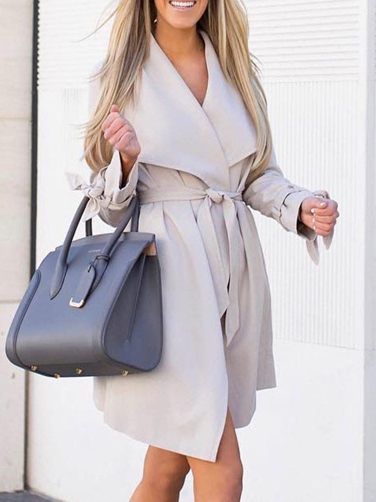 Lace-Up Lace-Up Lapel Long Sleeve Casual Trench Coat