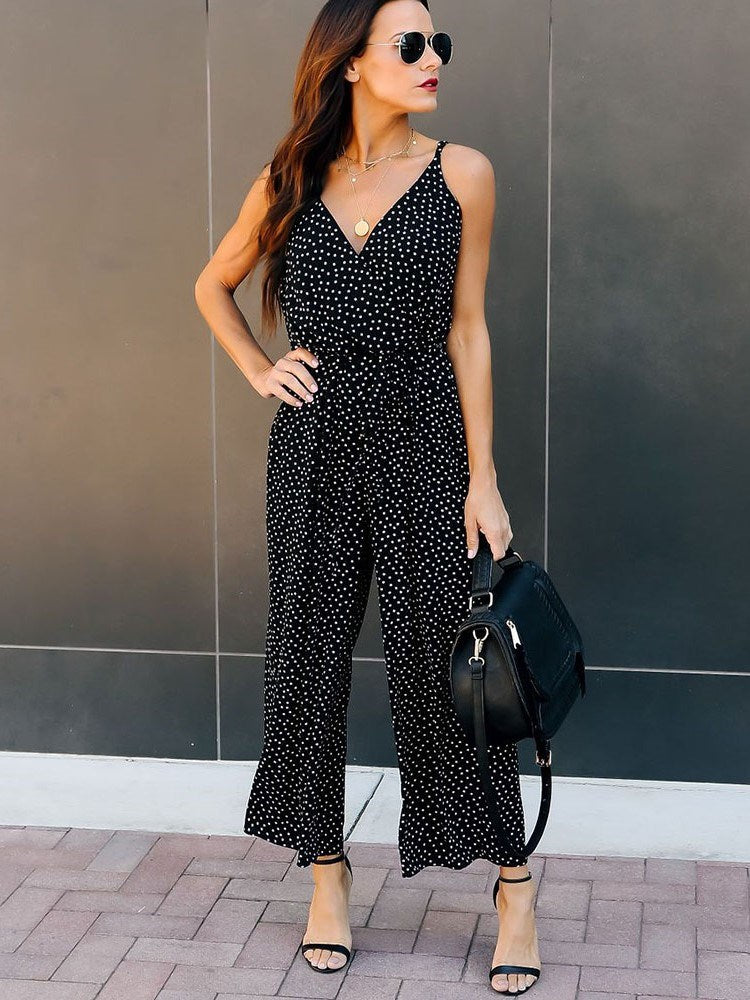Strap Fashion Full Length Wide Legs Slim Jumpsuit