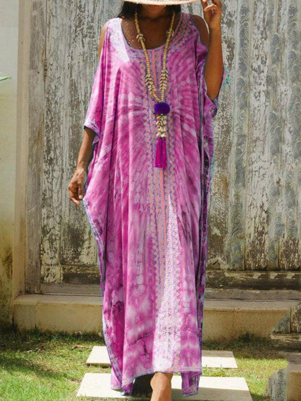 Three-Quarter Sleeve Print Floor-Length Western Straight Dress