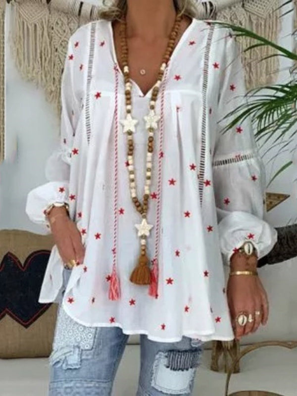 V-Neck Star Print Mid-Length Nine Points Sleeve Blouse