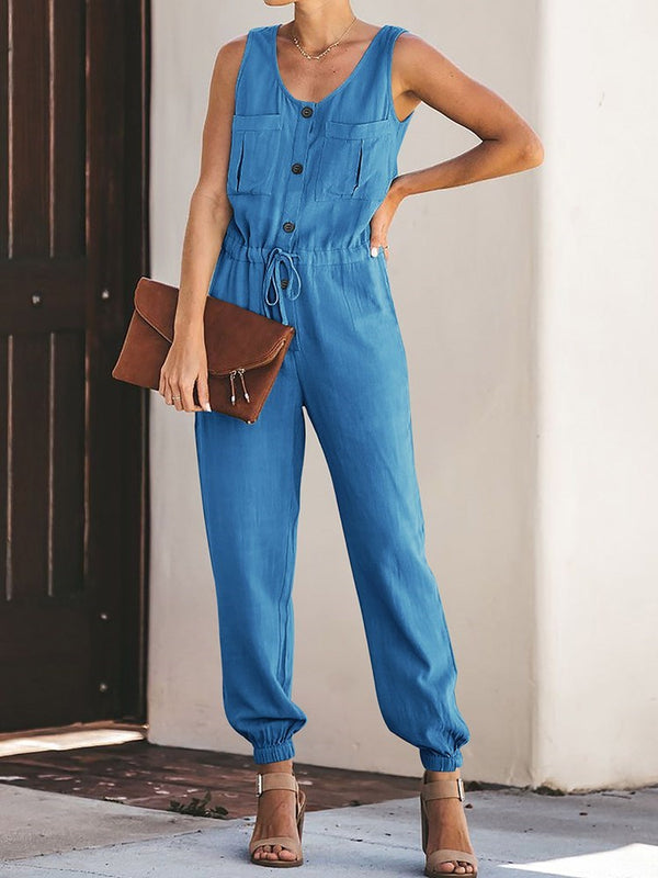 Button Full Length Western Slim Jumpsuit