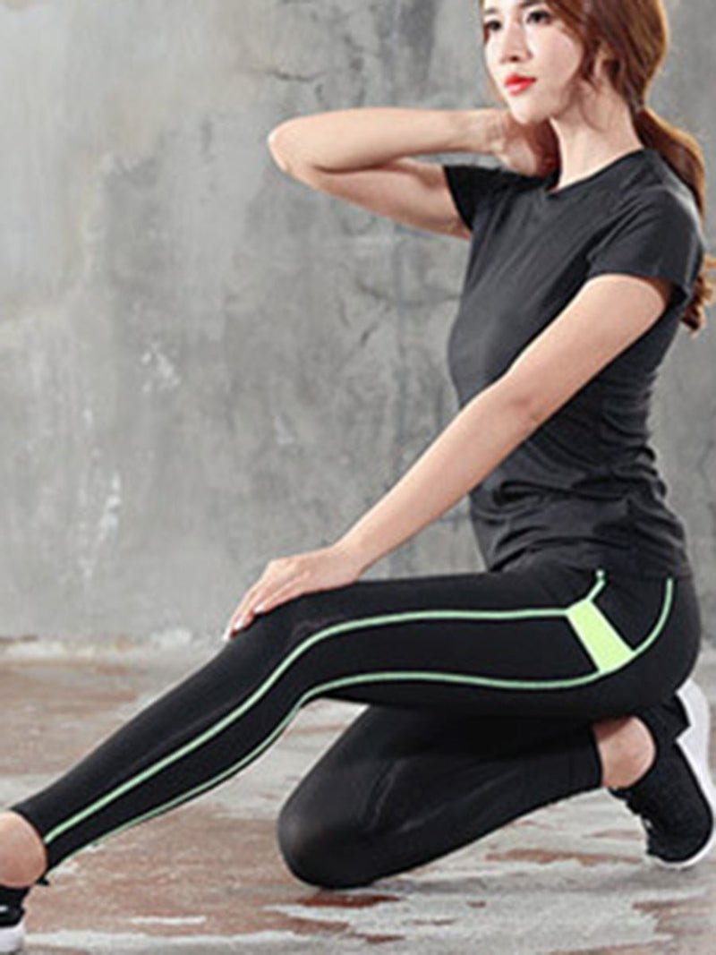 Breathable Polyester Color Block Patchwork Badminton Female Full Length Leggings