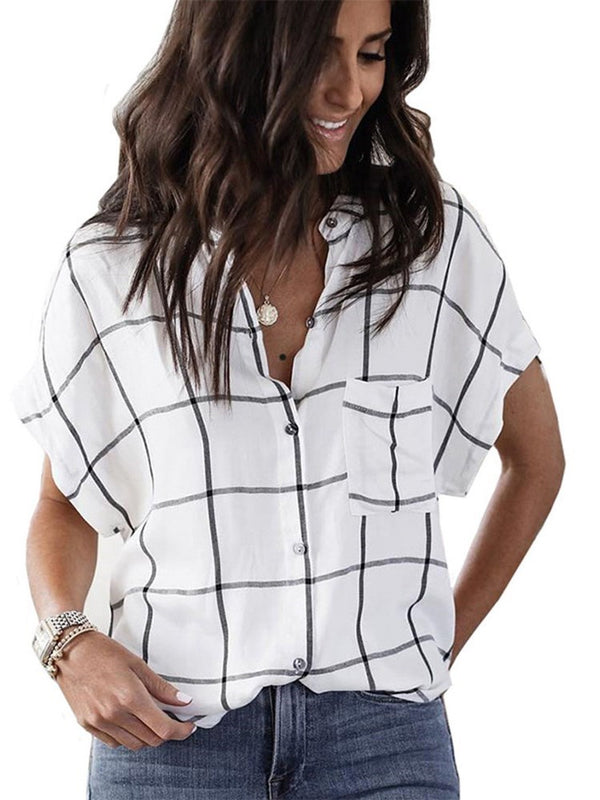 Plaid Button Short Sleeve Standard Blouse