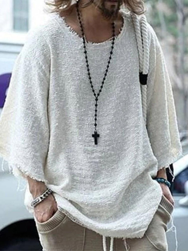 Casual Plain Round Neck Nine Points Sleeve Loose T-shirt