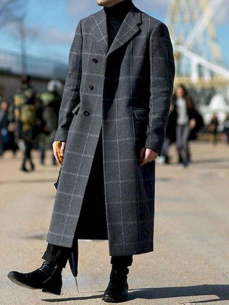 Notched Lapel Plaid Button Fall Fashion Coat