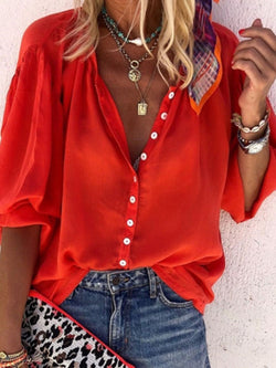 Plain Standard Three-Quarter Sleeve Blouse