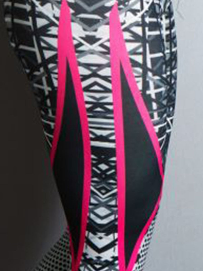 Anti-Sweat Print Color Block Polyester Volleyball Spring Full Length Leggings