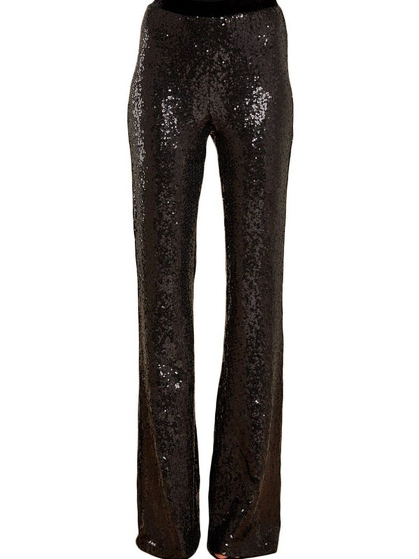 Slim Plain Sequins Full Length Casual Pants