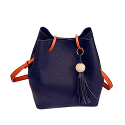 Korean Plain PU Thread Barrel-Shaped Tote Bags